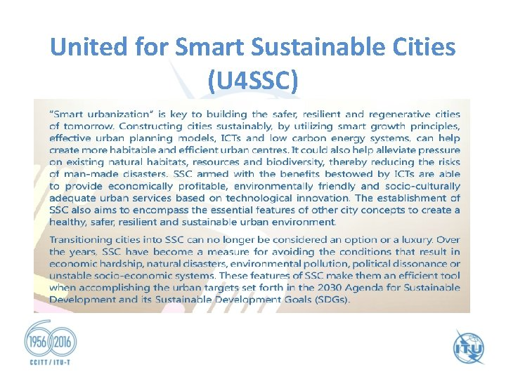 United for Smart Sustainable Cities (U 4 SSC)