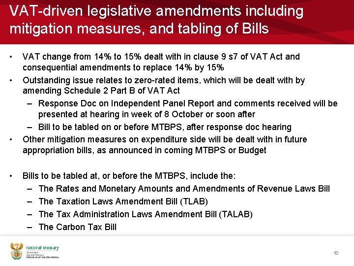 VAT-driven legislative amendments including mitigation measures, and tabling of Bills • • VAT change