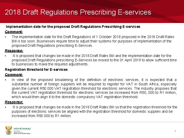 2018 Draft Regulations Prescribing E-services Implementation date for the proposed Draft Regulations Prescribing E-services