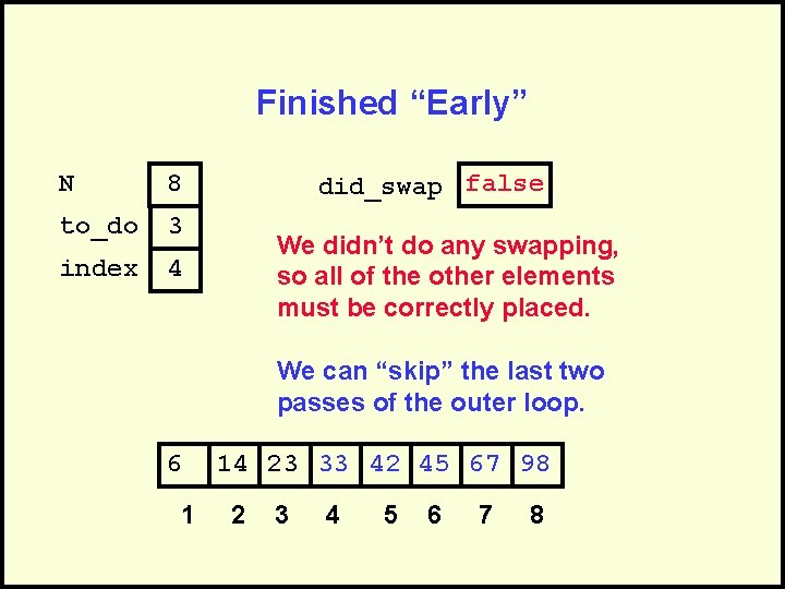 """Finished """"Early"""" N 8 to_do 3 index 4 did_swap false We didn't do any"""