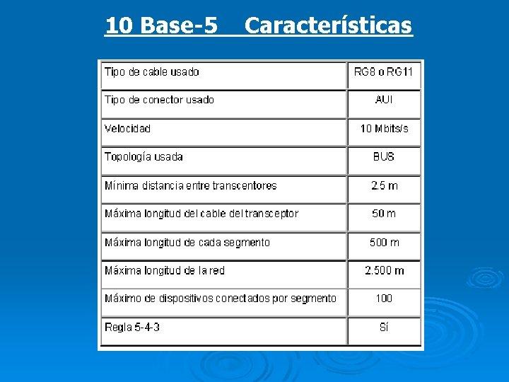 10 Base-5 Características