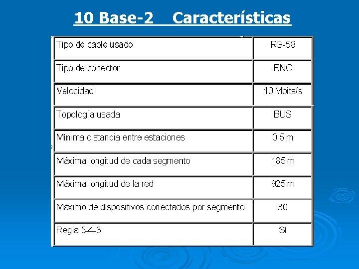 10 Base-2 Características