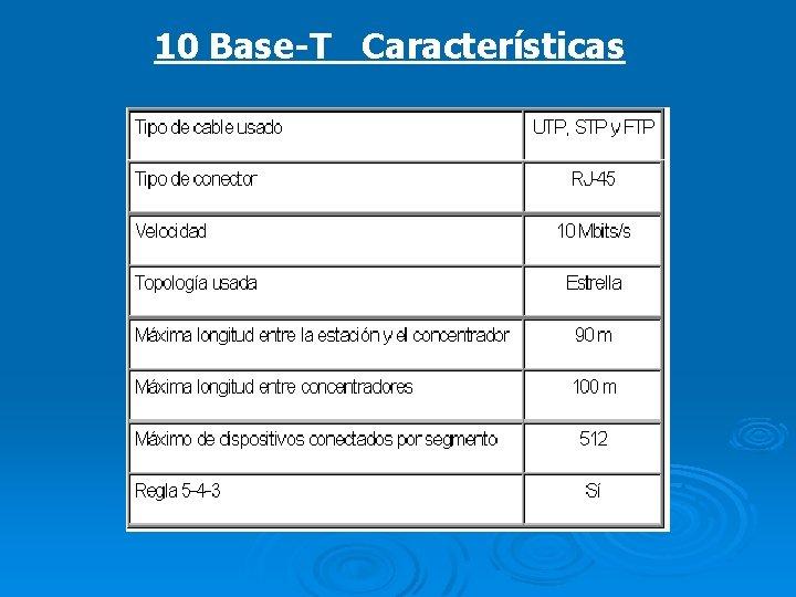 10 Base-T Características