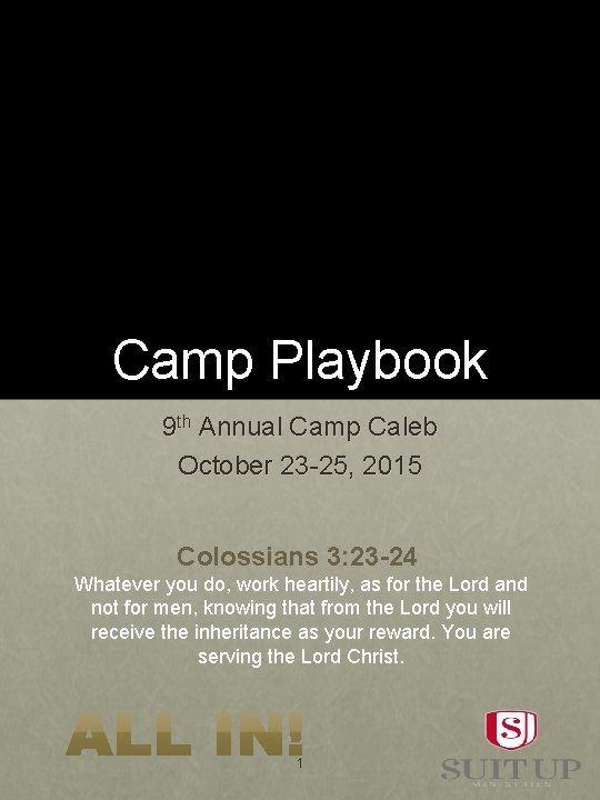 Camp Playbook 9 th Annual Camp Caleb October 23 -25, 2015 Colossians 3: 23