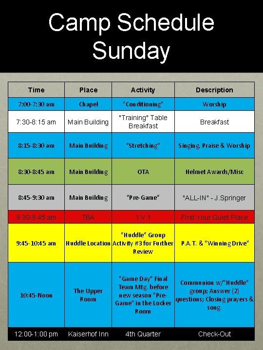 "Camp Schedule Sunday Time Place Activity Description 7: 00 -7: 30 am Chapel ""Conditioning"""