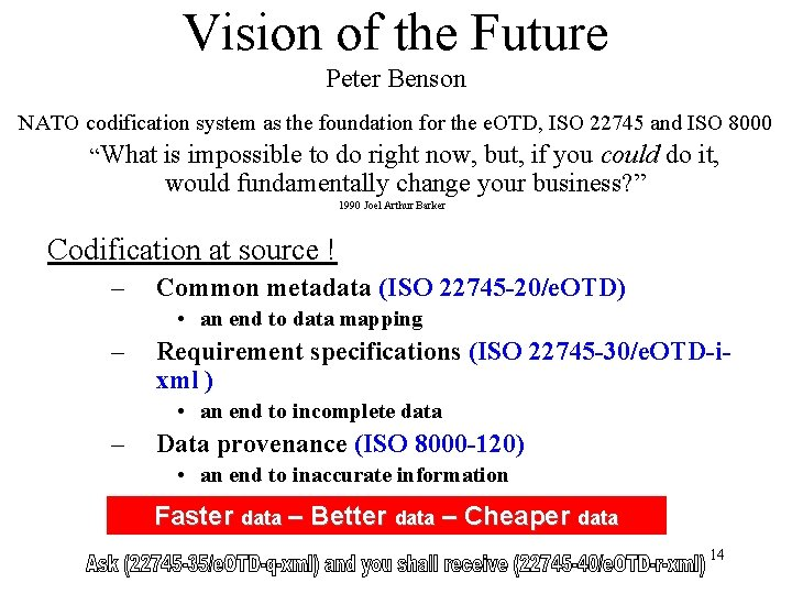 Vision of the Future Peter Benson NATO codification system as the foundation for the