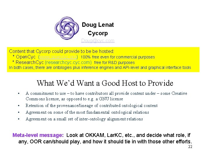 Doug Lenat Cycorp Doug@cyc. com Content that Cycorp could provide to be be hosted: