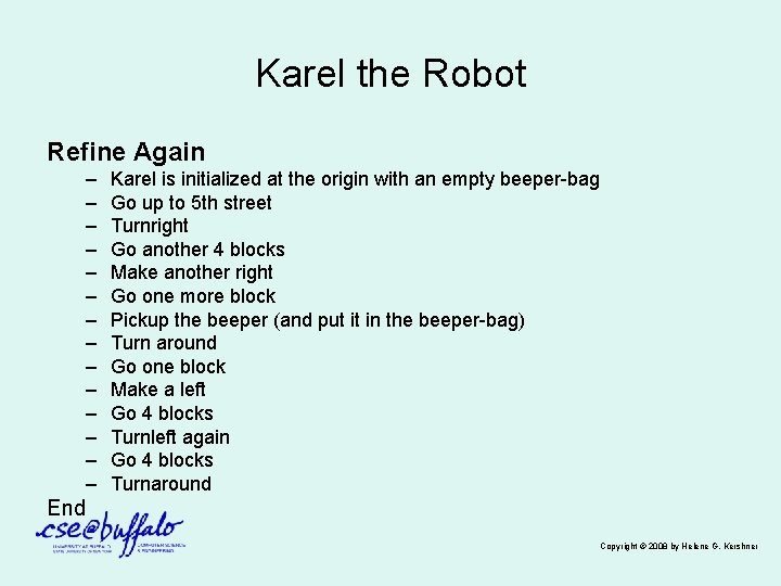 Karel the Robot Refine Again – – – – Karel is initialized at the