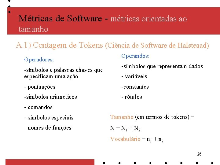 Métricas de Software - métricas orientadas ao tamanho A. 1) Contagem de Tokens (Ciência