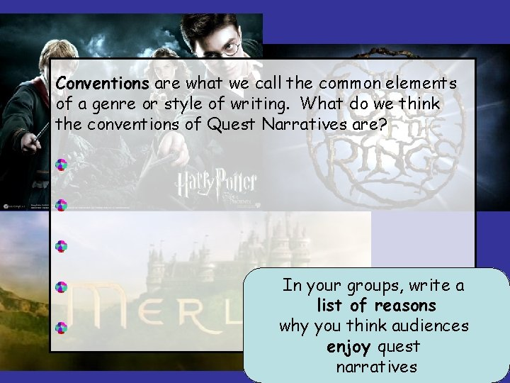 Conventions are what we call the common elements of a genre or style of