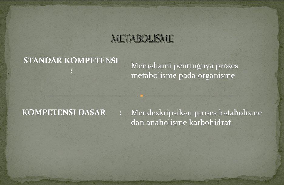 METABOLISME STANDAR KOMPETENSI : KOMPETENSI DASAR Memahami pentingnya proses metabolisme pada organisme : Mendeskripsikan
