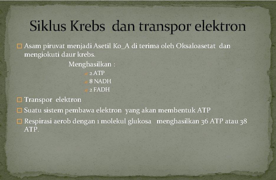 Siklus Krebs dan transpor elektron � Asam piruvat menjadi Asetil Ko_A di terima oleh