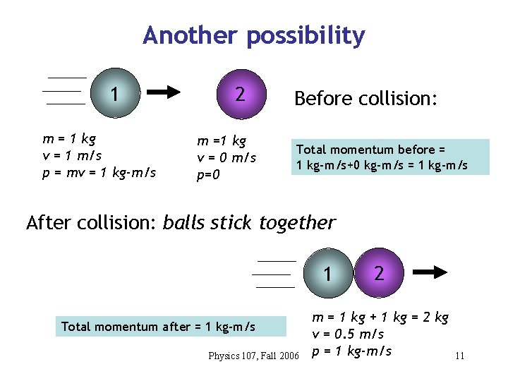 Another possibility 1 m = 1 kg v = 1 m/s p = mv
