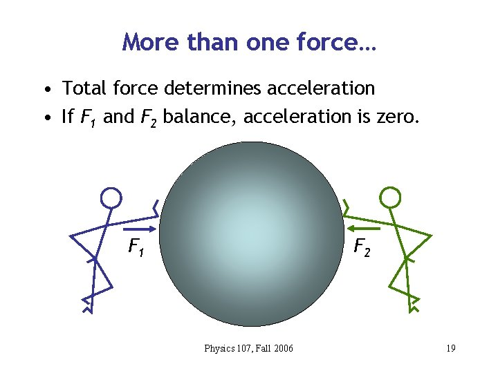 More than one force… • Total force determines acceleration • If F 1 and