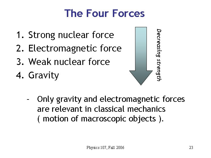 The Four Forces Strong nuclear force Electromagnetic force Weak nuclear force Gravity Decreasing strength