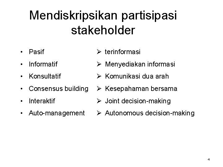 Mendiskripsikan partisipasi stakeholder • Pasif Ø terinformasi • Informatif Ø Menyediakan informasi • Konsultatif