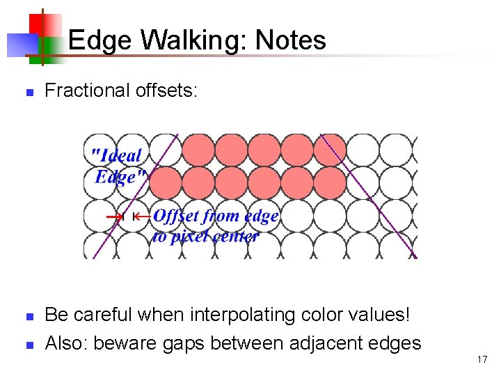 Edge Walking: Notes n n n Fractional offsets: Be careful when interpolating color values!