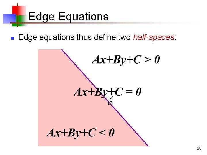 Edge Equations n Edge equations thus define two half-spaces: 20