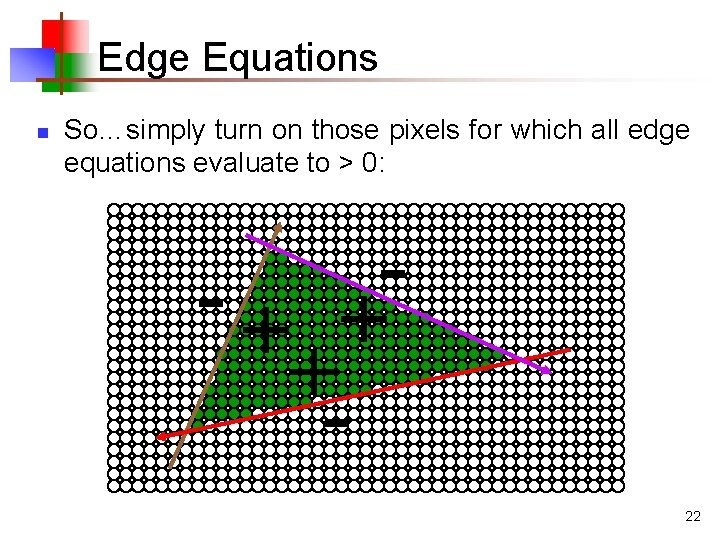 Edge Equations n So…simply turn on those pixels for which all edge equations evaluate
