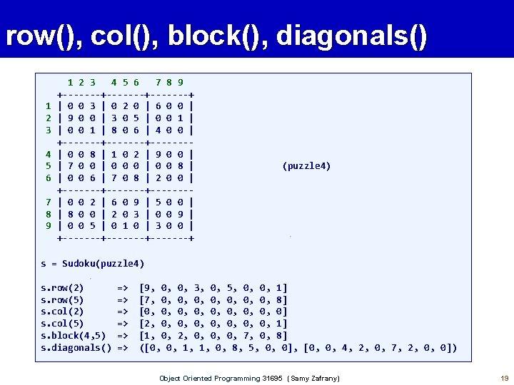 row(), col(), block(), diagonals() 1 2 3 4 5 6 7 8 9 +-------+-------+