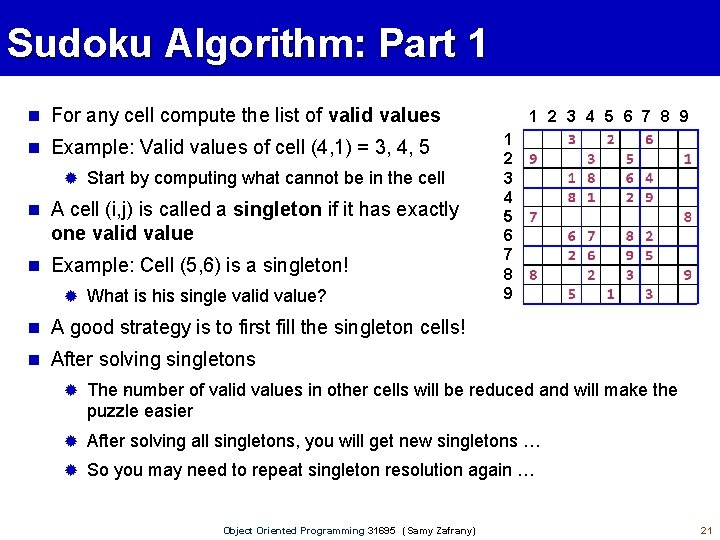 Sudoku Algorithm: Part 1 For any cell compute the list of valid values Example: