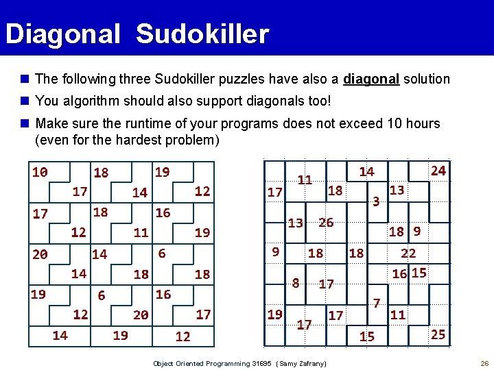 Diagonal Sudokiller The following three Sudokiller puzzles have also a diagonal solution You algorithm