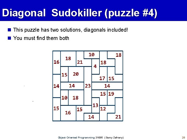Diagonal Sudokiller (puzzle #4) This puzzle has two solutions, diagonals included! You must find