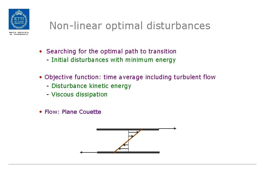 Non-linear optimal disturbances • Searching for the optimal path to transition - Initial disturbances
