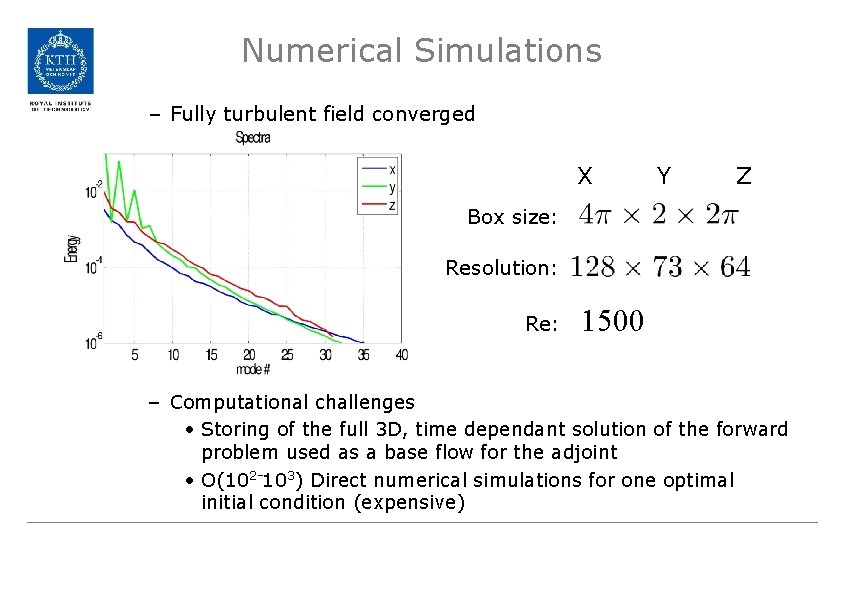 Numerical Simulations – Fully turbulent field converged X Y Z Box size: Resolution: Re: