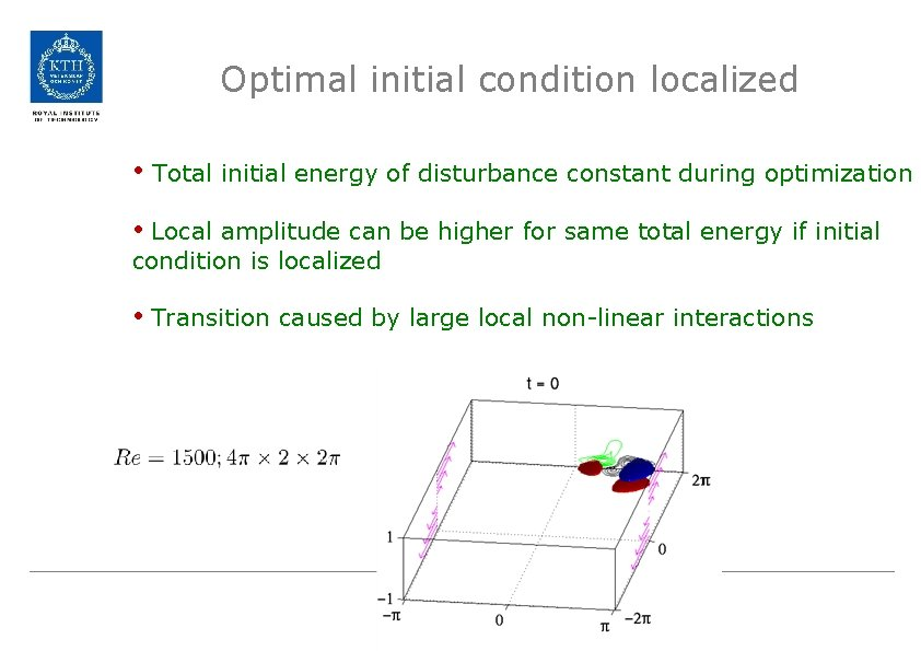 Optimal initial condition localized • Total initial energy of disturbance constant during optimization •