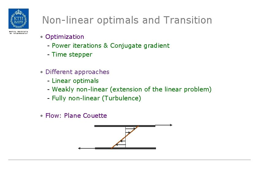 Non-linear optimals and Transition • Optimization - Power iterations & Conjugate gradient - Time