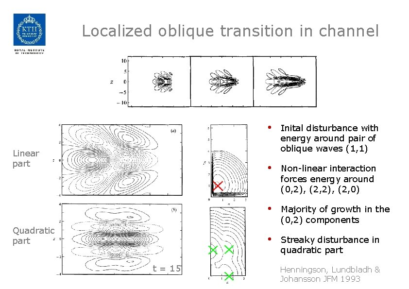 Localized oblique transition in channel Linear part Quadratic part t = 15 • Inital