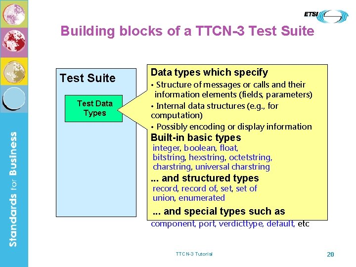 Building blocks of a TTCN-3 Test Suite Test Data Types Data types which specify