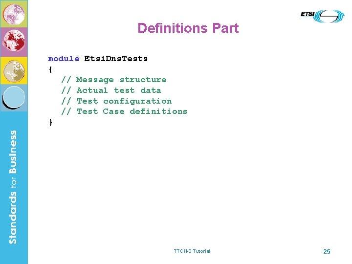 Definitions Part module Etsi. Dns. Tests { // Message structure // Actual test data