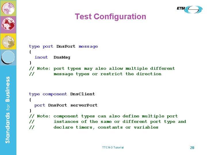Test Configuration type port Dns. Port message { inout Dns. Msg } // Note: