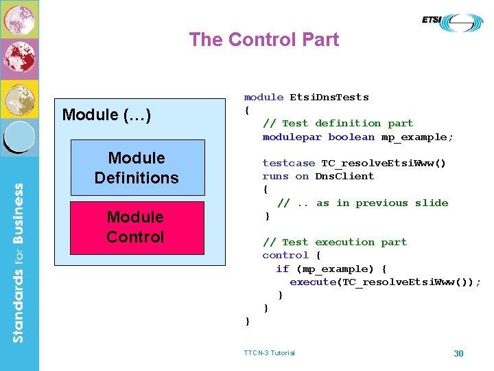 The Control Part Module (…) module Etsi. Dns. Tests { // Test definition part