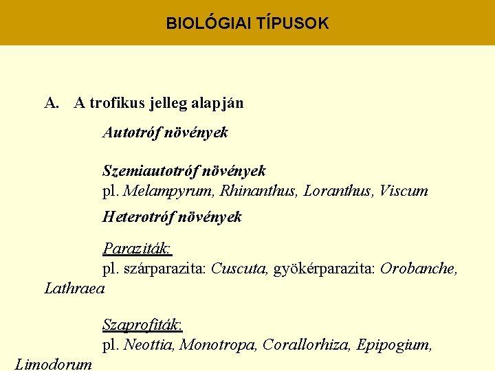 trofikus csoport paraziták)