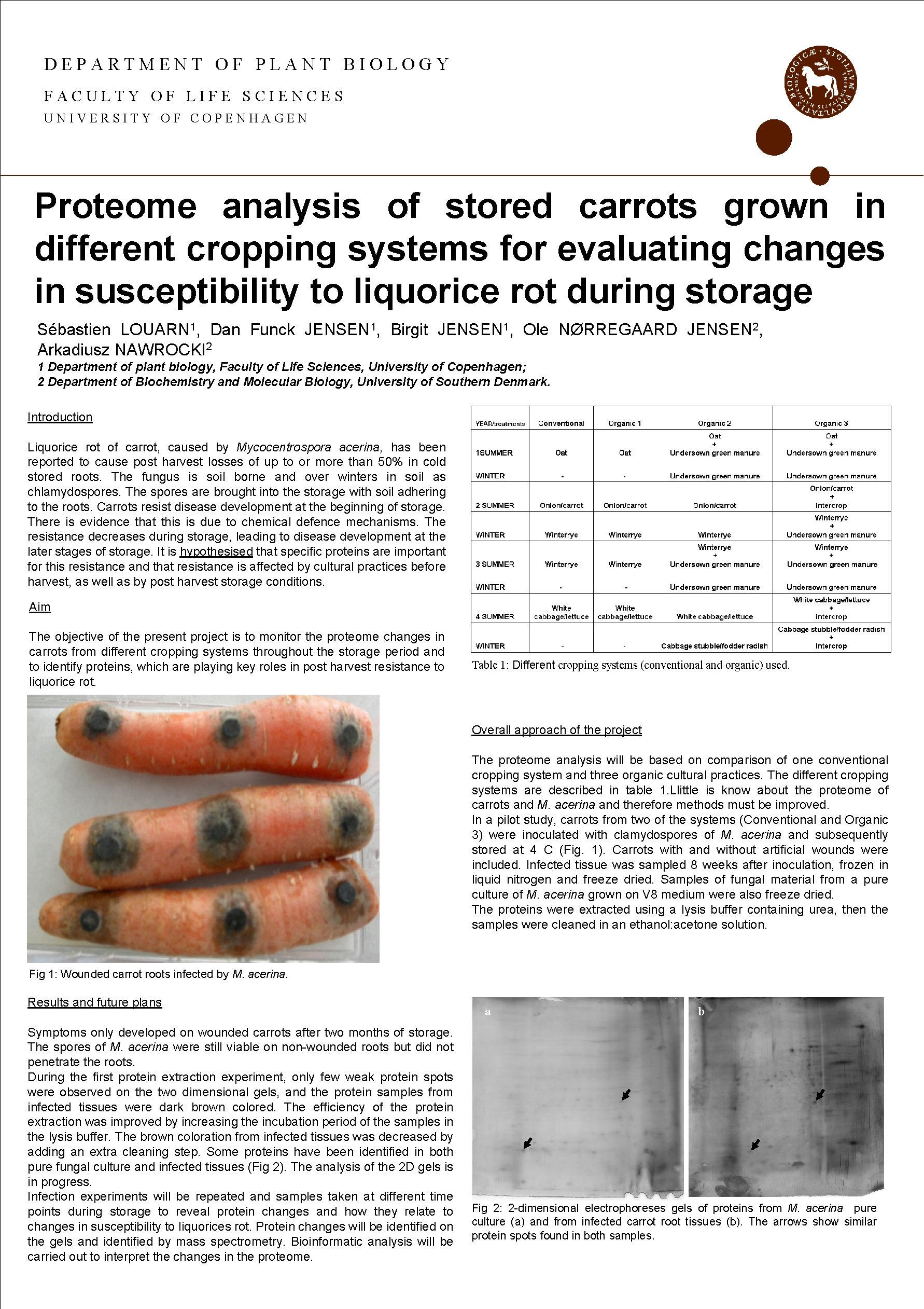DEPARTMENT OF PLANT BIOLOGY FACULTY OF LIFE SCIENCES UNIVERSITY OF COPENHAGEN Proteome analysis of