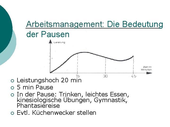 Arbeitsmanagement: Die Bedeutung der Pausen ¡ ¡ Leistungshoch 20 min 5 min Pause In