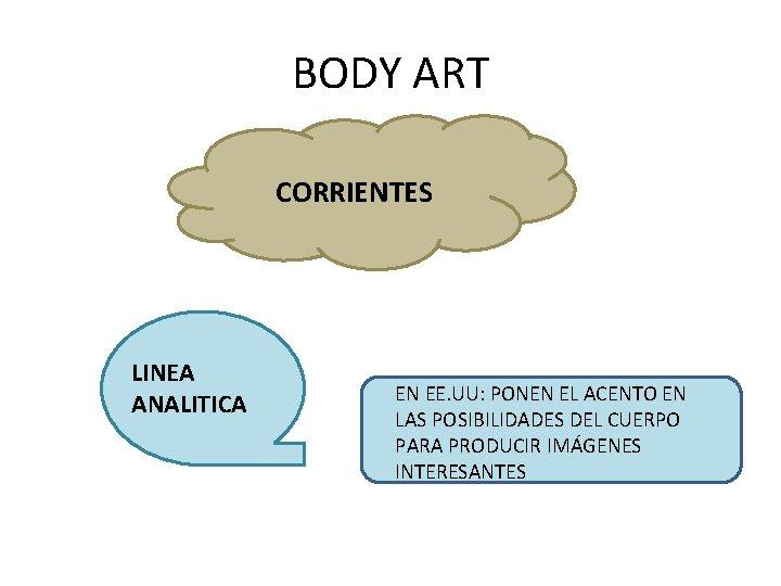 BODY ART CORRIENTES LINEA ANALITICA EN EE. UU: PONEN EL ACENTO EN LAS POSIBILIDADES