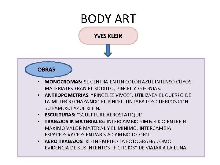 BODY ART YVES KLEIN OBRAS • MONOCROMAS: SE CENTRA EN UN COLOR AZUL INTENSO