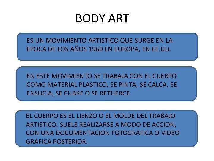 BODY ART ES UN MOVIMIENTO ARTISTICO QUE SURGE EN LA EPOCA DE LOS AÑOS