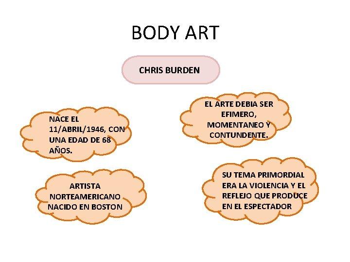 BODY ART CHRIS BURDEN NACE EL 11/ABRIL/1946, CON UNA EDAD DE 68 AÑOS. ARTISTA