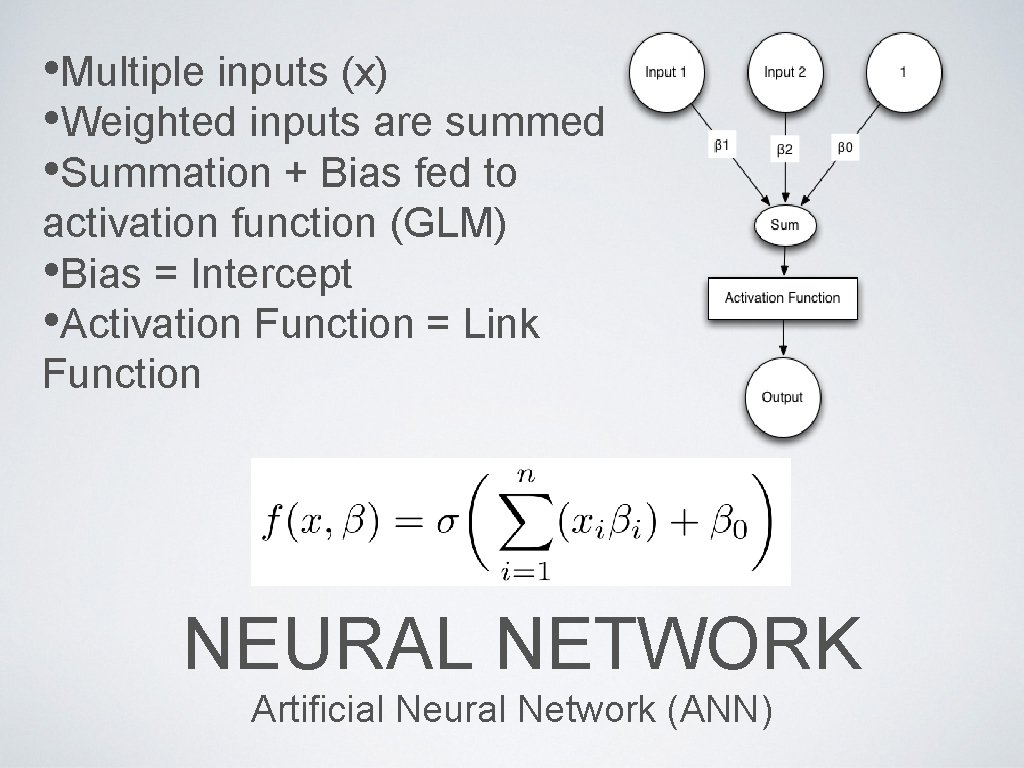 • Multiple inputs (x) • Weighted inputs are summed • Summation + Bias