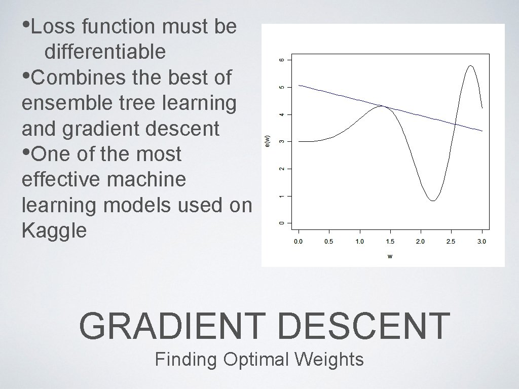 • Loss function must be differentiable • Combines the best of ensemble tree