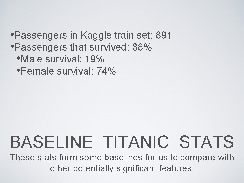 • Passengers in Kaggle train set: 891 • Passengers that survived: 38% •