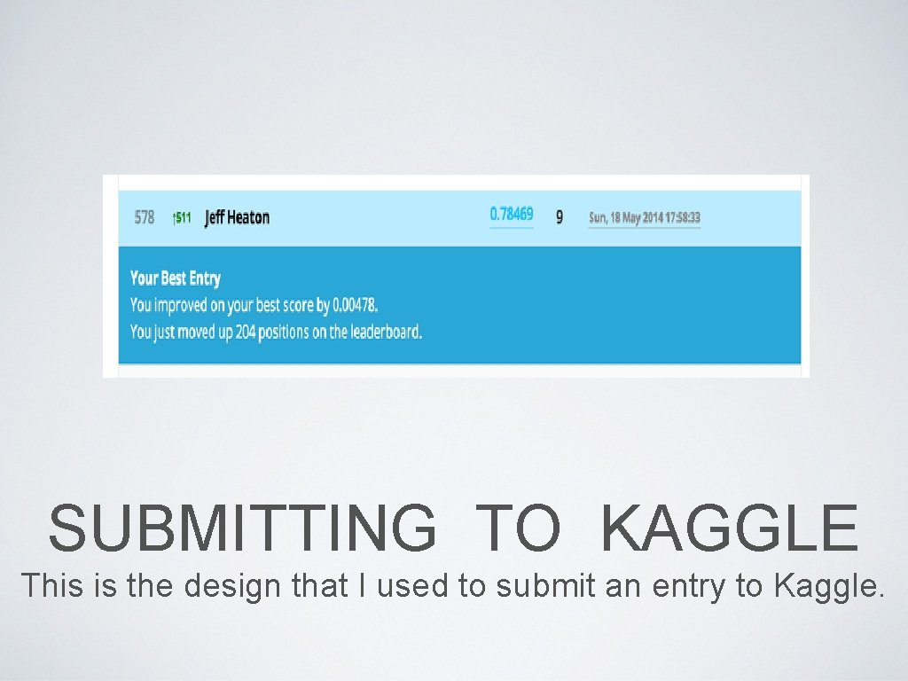 SUBMITTING TO KAGGLE This is the design that I used to submit an entry