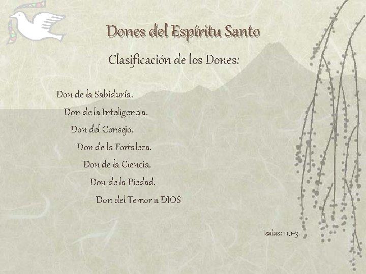 Dones del Espíritu Santo Clasificación de los Dones: Don de la Sabiduría. Don de