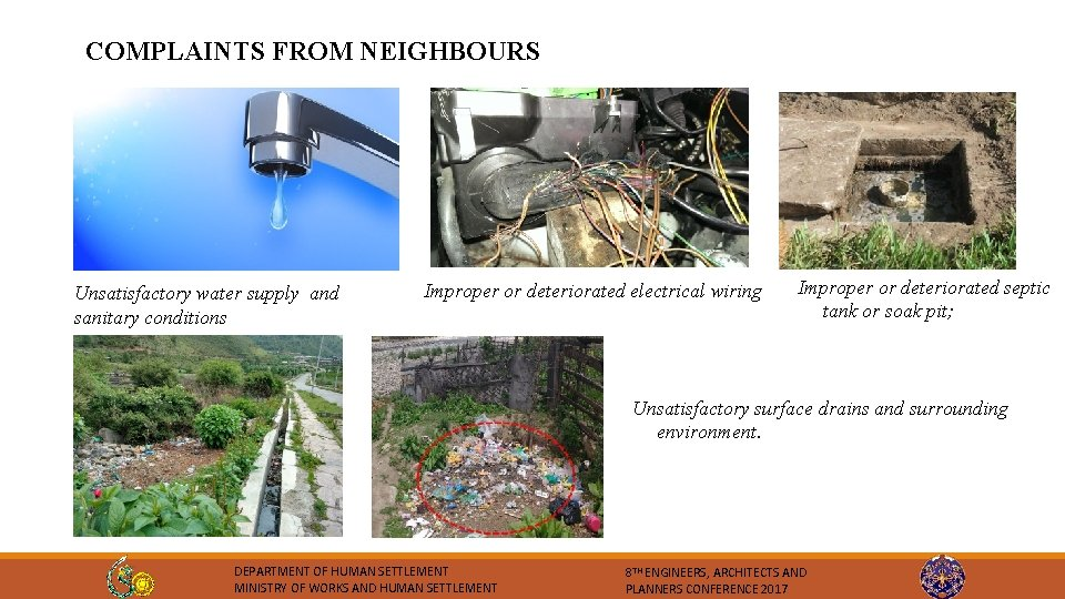 COMPLAINTS FROM NEIGHBOURS Unsatisfactory water supply and sanitary conditions Improper or deteriorated electrical wiring