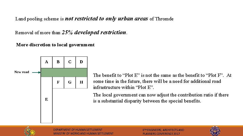 Land pooling scheme is not restricted to only urban areas of Thromde Removal of